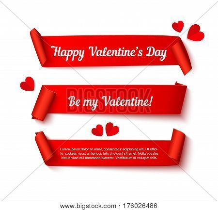 Valentines day paper curl ribbon banners, realistic vector illustration with paper cut hearts isolated on white background. Template for web sites and print poster