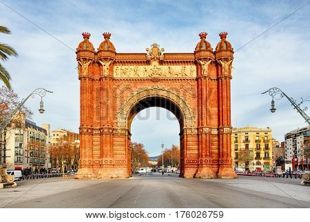 Triumph Arch of Barcelona in a summer day in Barcelona Spain