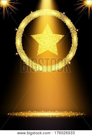 Spotlight gold background. Winner concept with star. Vector illustration.