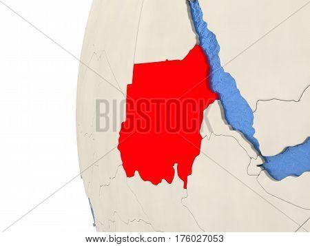 Sudan On 3D Globe
