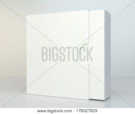 Blank box on gray background with reflection. 3d rendering