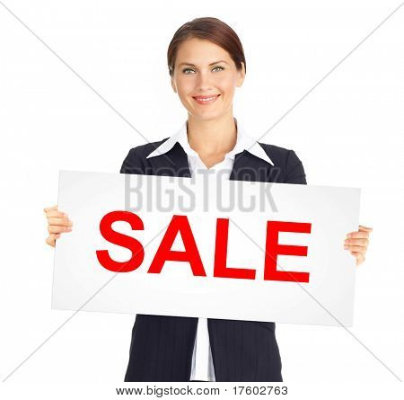 Happy business woman holding a white plackard