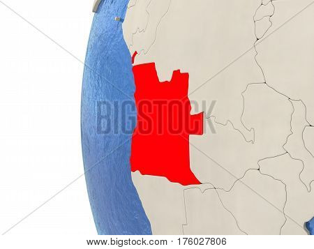 Angola On 3D Globe