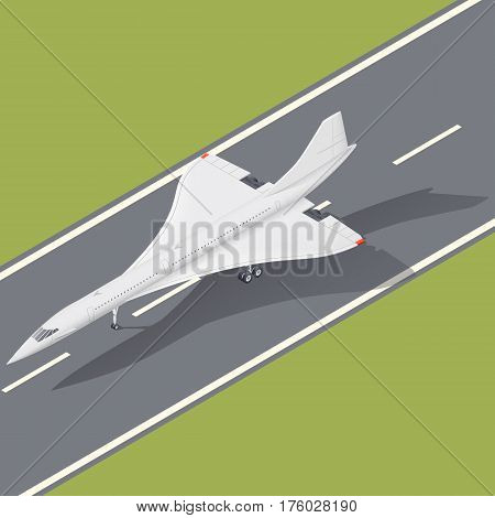 Supersonic passenger airliner isometric icon vector graphic illustration