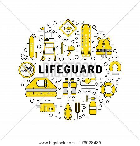 Vector outline icons of lifeguard equipment, hat helps save the lives of drowning people. Elements of equipment of the rescuer and rescue station
