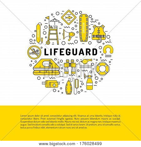 Vector line icons of rescue equipment, life-saving in water isolated on white background. Elements of equipment of the rescuer and rescue station