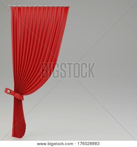 classic red curtains with glossy shine. 3d rendering