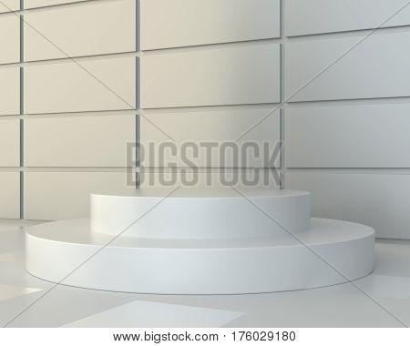 White round podium. Pedestal scene. 3D rendering