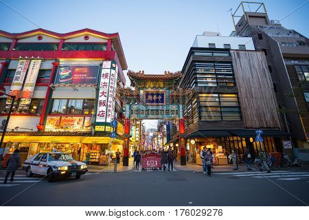 YOKOHAMA JAPAN - 17 February 2017: Chinatown in Yokohama city Japan. The district has a 150-year-old history and is the largest Chinatown in Japan.
