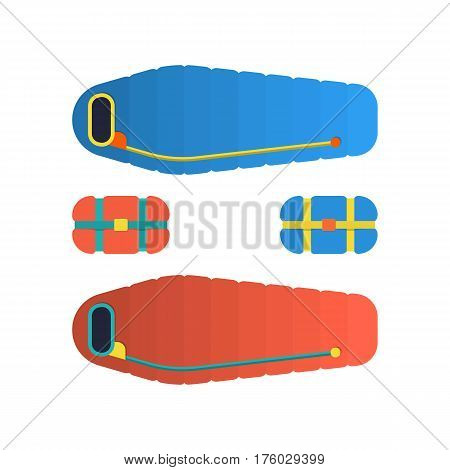 Sleeping bag spread out and ready to use. Packed in a roll and compressed by the bag. Vector illustration flat, isolated on white background.