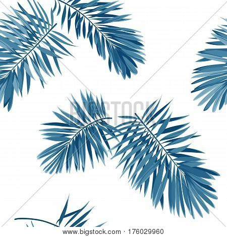 Seamless indigo blue pattern with monstera palm leaves on dark background. Summer tropical fabric design. Vector illustration.