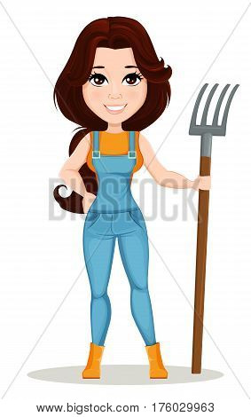 Farmer girl dressed in work jumpsuit. Cute cartoon character holding forks. Can be used for animation as design element and in any farm related project. Dismantled over the layers. Vector