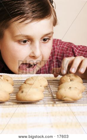 just one, mum won't notice.....  boy tempted by some home baked cookies poster