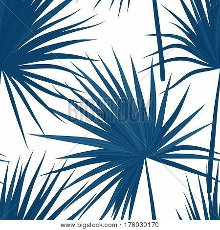 Tropical background with jungle plants. Seamless tropical pattern with sabal palm leaves. Denim indigo colors. Vector illustration.