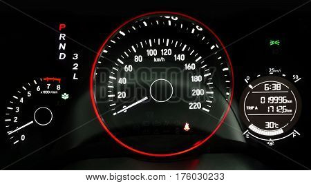 Car dashboard driving indicator in black background