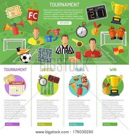 Soccer infographics with flat icons tournament, player, referee and goal. vector illustration