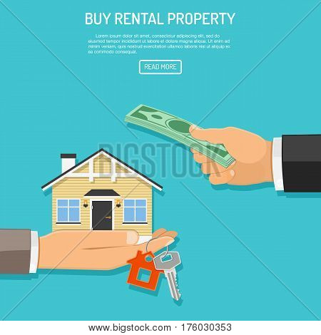 Hand with money and hand with house and keys. flat style icons. sale, purchase, lease, rent of real estate concept. isolated vector illustration