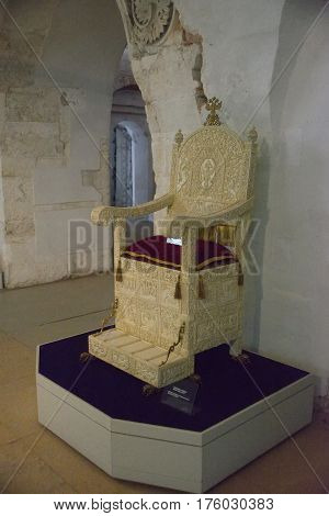 Aleksandrov Russia - January 8 2015: Throne of ivory owned by the Russian Tsar Ivan the Terrible 4 which is in the Alexander settlement the former residence of Tsar Ivan the Terrible in the 16th century.