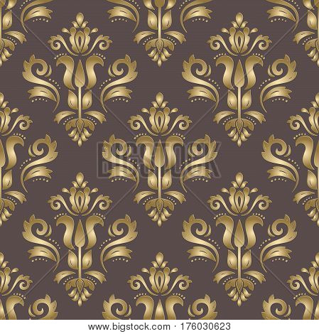 Seamless oriental brown and golden ornament. Fine traditional oriental pattern with 3D elements, shadows and highlights