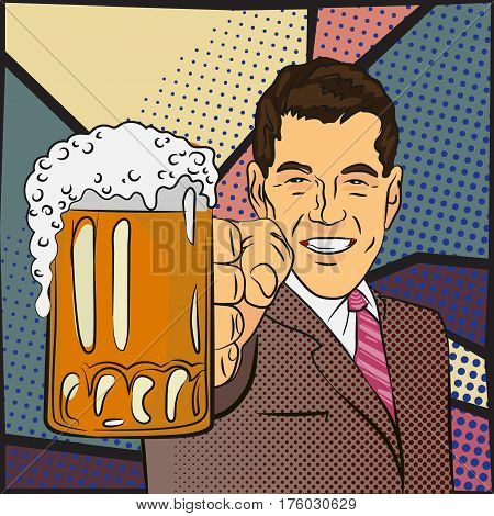 man holding big beer glass in his hand, pop-art style illustration