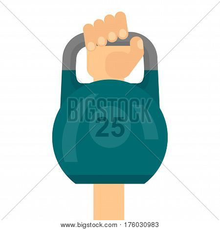 Hand raises Kettlebell. Sports and fitness, participation in competitions and victory. Flat vector cartoon illustration. Objects isolated on a white background.