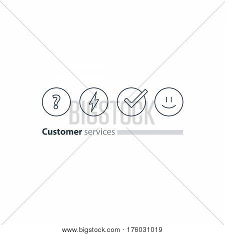 Good experience, happy emoji icon, customer support services, feedback concept, survey, vector flat illustration