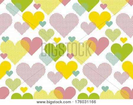 Vivid colored love concept icon repeatable motif for wrapping paper or fabric. Heart shape modern seamless pattern vector illustration in geometry style.