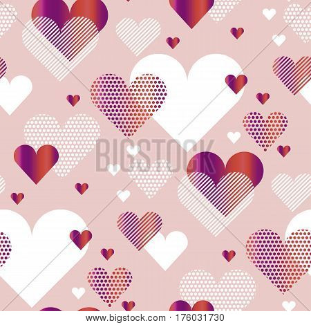 pale rosy color love heart concept vector illustration for backdrop. simple stylized abstract seamless pattern for background, wrapping paper, fabric