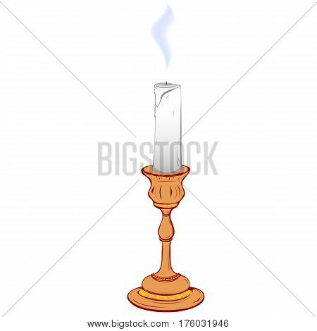 Colored vector illustration of stylized retro candlestick with a steaming candle on a white background