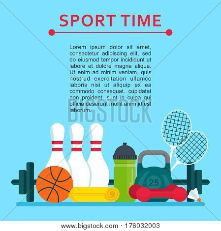 Sport time concept poster. Equipment for sports and fitness, strengthening of muscles, development of strength and endurance. Flat vector cartoon illustration. Objects isolated on a white background.