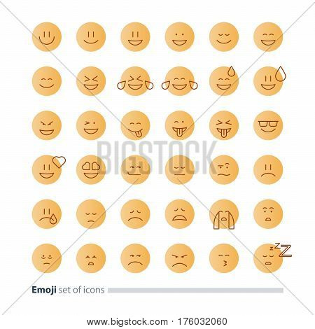 Big set of small linear emoji icons, black white mono line design, facial expressions, flat emoticon vector