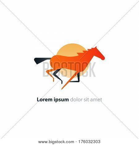 Galloping red horse logo flat design, speed concept vector icon