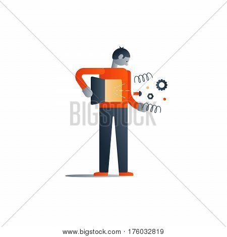Man health concept, inner feelings, self reflection, healthy immunity, vector flat design illustration