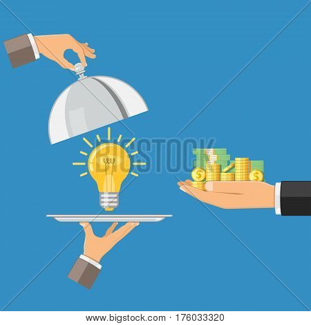 Hand holding tray with light bulb and other hand giving money. crowdfunding, innovation, idea, investments concept. flat style icons. isolated vector illustration