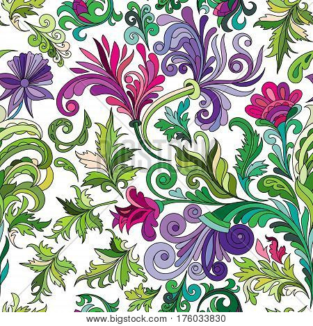 Decorative hand drawn doodle nature ornamental curl vector sketchy seamless pattern. Green curl and leaves with violet flowers.