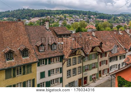 street with historical houses in Aarau old town Switzerland