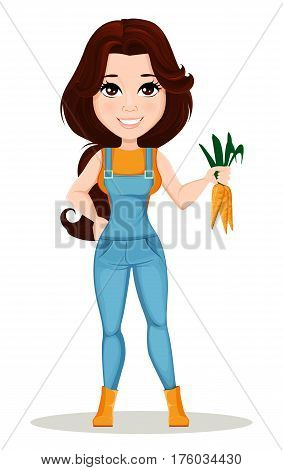 Farmer girl dressed in work jumpsuit. Cute cartoon character holding fresh carrots. Can be used for animation as design element and in any farm related project. Dismantled over the layers. Vector