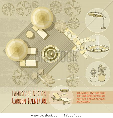 Vector illustration of hand drawn  lounge chairs under patio umbrella, fountain and flowers in pot. Garden accessory on beige  background. Landscape design. Summer backyard with outdoor furniture.  Rest area Top view.