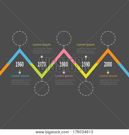 Five step Timeline Infographic. Colorful triangle corner segment. Dash line round circle. Template. Flat design. Black background. Isolated. Vector illustration