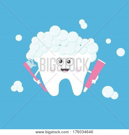 Tooth holding toothpaste and toothbrush. Bubbles foam. Cute funny cartoon smiling character with eyes. Children teeth care icon. Oral dental hygiene Tooth health. Baby background Flat design Vector