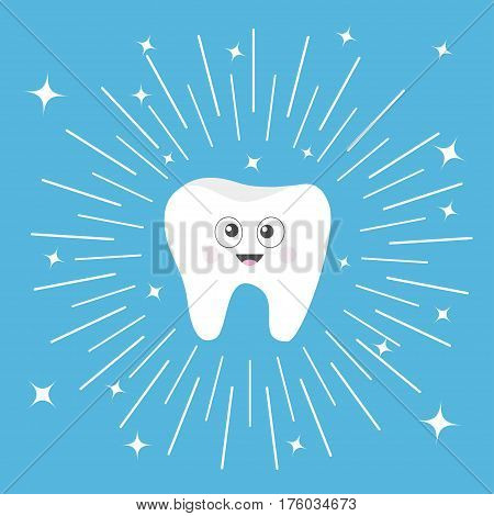 Healthy tooth icon with smiling face and big eyes. Cute cartoon character. Round line circle. Oral dental hygiene. Children teeth care. Shining effect stars. Blue background. Flat design. Vector