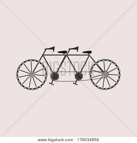 Flat tandem bicycle Icon for ypur design