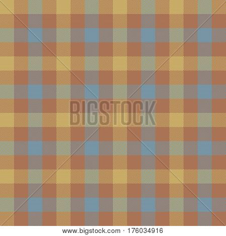 Brown beige check tablecloth seamless pattern. Vector illustration. EPS 10.