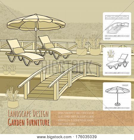 Vector illustration of hand drawn  lounge chairs under patio umbrella, bridge and flowers in pot. Garden accessory on beige  background. Landscape design. Summer backyard with outdoor furniture. Rest area.