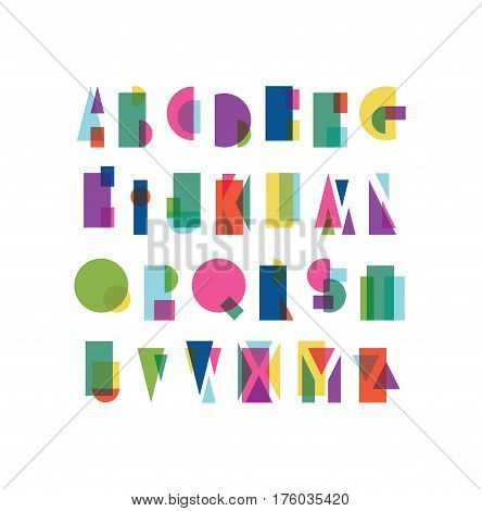 Overlapping shapes alphabet that is colorful and reminds of the Bauhaus school
