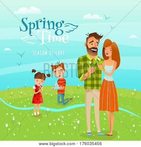 Happy family walking along blooming field and gathering snowdrops cartoon vector illustration
