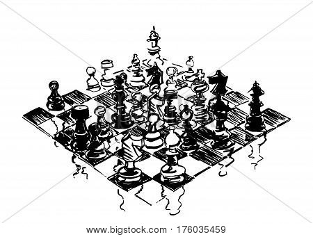 Chess board and pieces handdrawn with ink