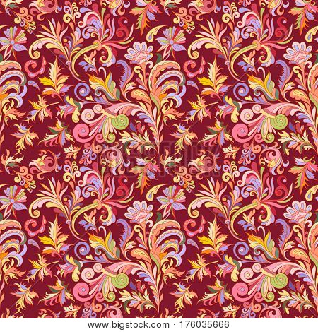 Vector floral seamless pattern with colorful fantasy plants and curls. Bright colors pattern on vinous baclground.