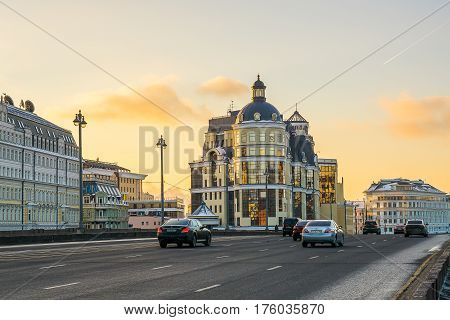 Moscow, Russia - January 30, 2017: City landscape of Moscow in the evening. Bolshaya Ordynka Street