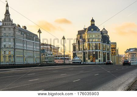 Moscow, Russia - January 30, 2017: Evening landscape of the city of Moscow on the Bolshoy Moskvoretsky bridge